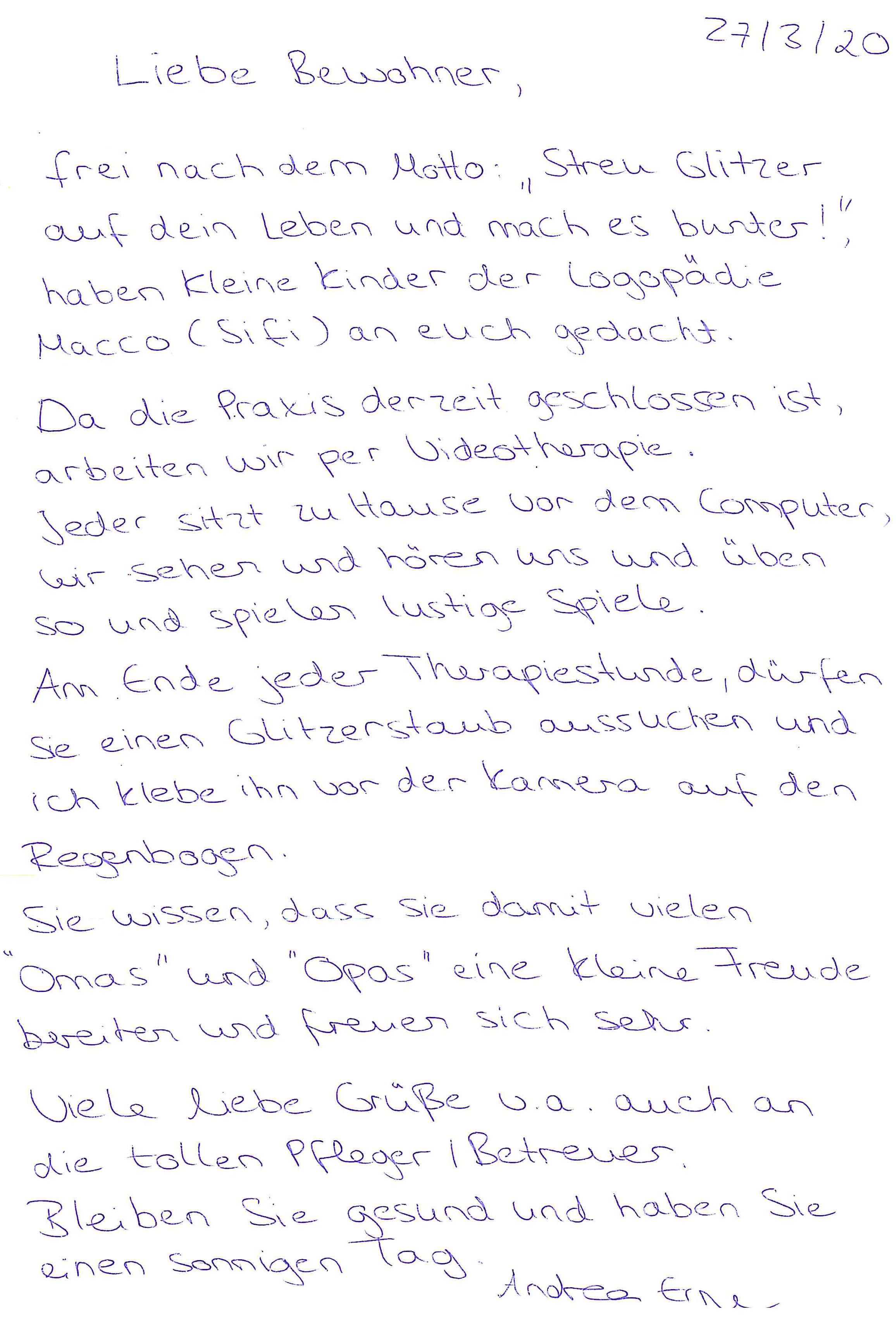 Tod danke nach an pflegepersonal Altersheim, Pflegeheim,